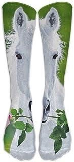 Daisylove, Calcetines largos de caballo blancos para mujer de invierno vintage de algodón de punto de lana calcetines largos