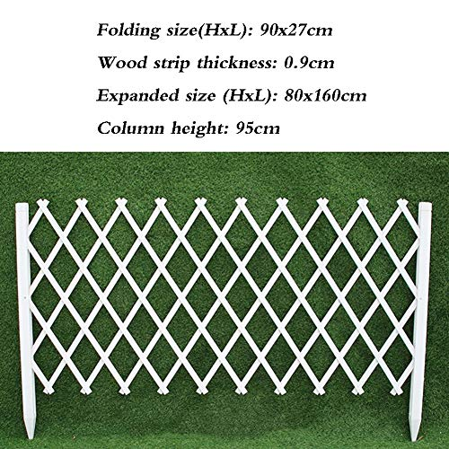 JiANFEI-weilan houten omheining tuinhek tuinhek tuinhek buitendecoratie klimframe planten bloemenbed grens instelbare lengte wit, 5 maten