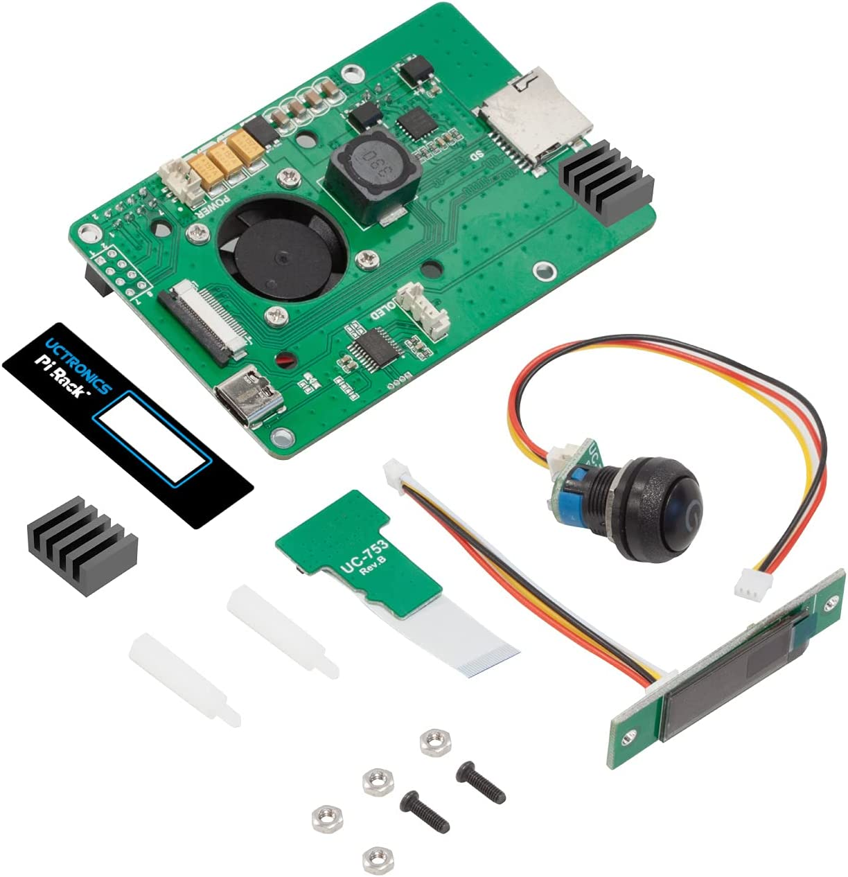 UCTRONICS for Raspberry Pi 4 Rerouting Board with POE Functionality, OLED Display, Power Switch and SD Adapter Board