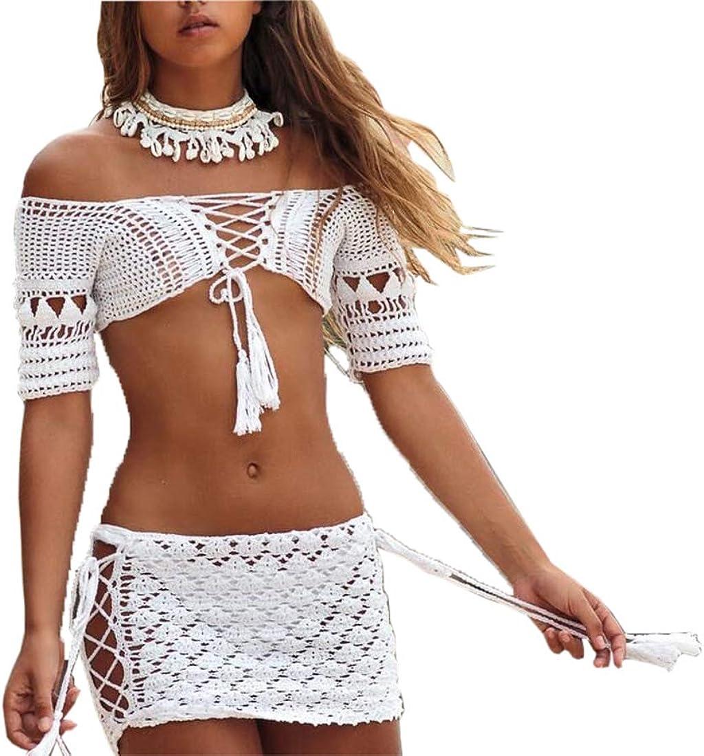 LinMe Women Crochet Mini Skirt Handmade Hollow Out Short Lace Skirt