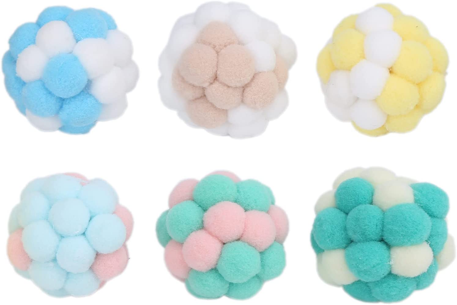 6PCS 5 ☆ very popular Cat Plush Max 74% OFF Ball Toys Interactive Chewing Squeaky Chasin