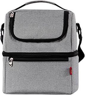 XIGUTI Large Double Layer Cooler Insulated Lunch Tote Box Bag for Men Women,Keep Food Hot/Cold for a Long Time,Leakproof B...