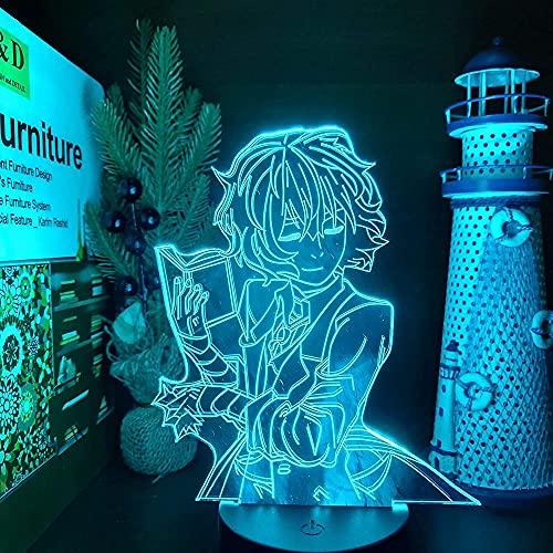 Bungo Stray Dogs Dazai Book 3D LED Anime lámpara de noche luces ilusión cambio de color lámpara de mesa para decoración de dormitorio, base negra remoto