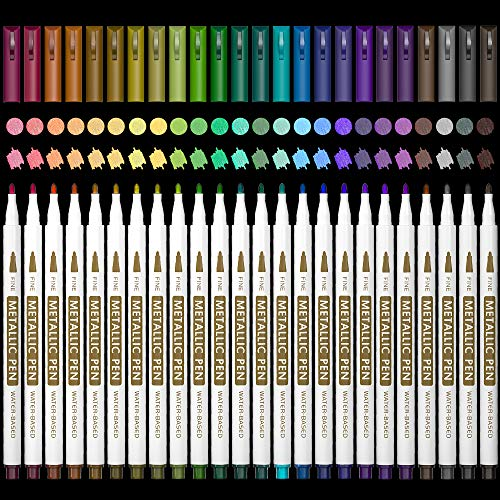 24 Colors Metallic Marker Pens, Lelix Fine Tip Paint Pens for DIY Photo Album, Black Paper, Card Making, Rock Art Painting, Scrapbooking, Glass, Metal, Wood