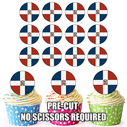 Dominicaanse Republiek Vlag - 24 Eetbare Cupcake Toppers/Verjaardag Cake Decoraties - Easy Precut Circles
