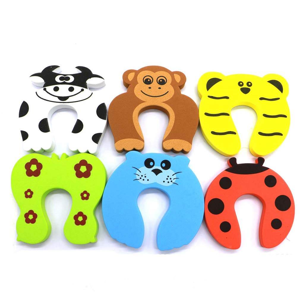 Baby finger anti-collision protective cover cartoon, 6 cartoon animal foam door anti-collision plugs, to prevent fingers from being caught, slammed into the door and children or pets entering the room