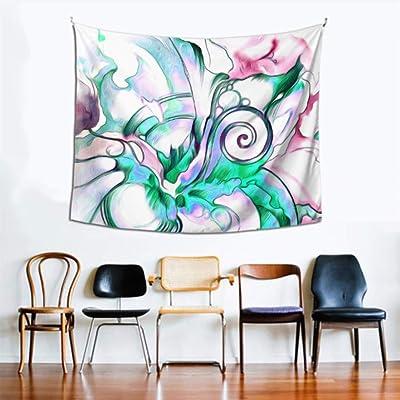 Decoración de pared de arte para sala de estar Tapices de peonía azul púrpura Tapices de pared 60x51 pulgadas (152x130cm) Tapiz de pared Decoración de hogar de poliéster para sala de estar Dormitorio