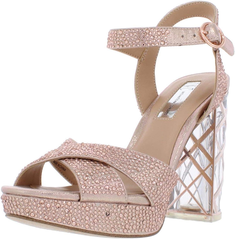 Inc Womens pinkrria2 Rhinestones Light Up Heel Block Heels