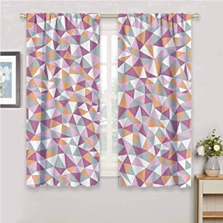 Geometric Decor Collection Room darkened curtain Mosaic Endless Pattern Tile Simplicity Continuity Texture Effect Print Insulated room bedroom darkened curtains W54 x L72 Inch Light Salmon Lilac Blue