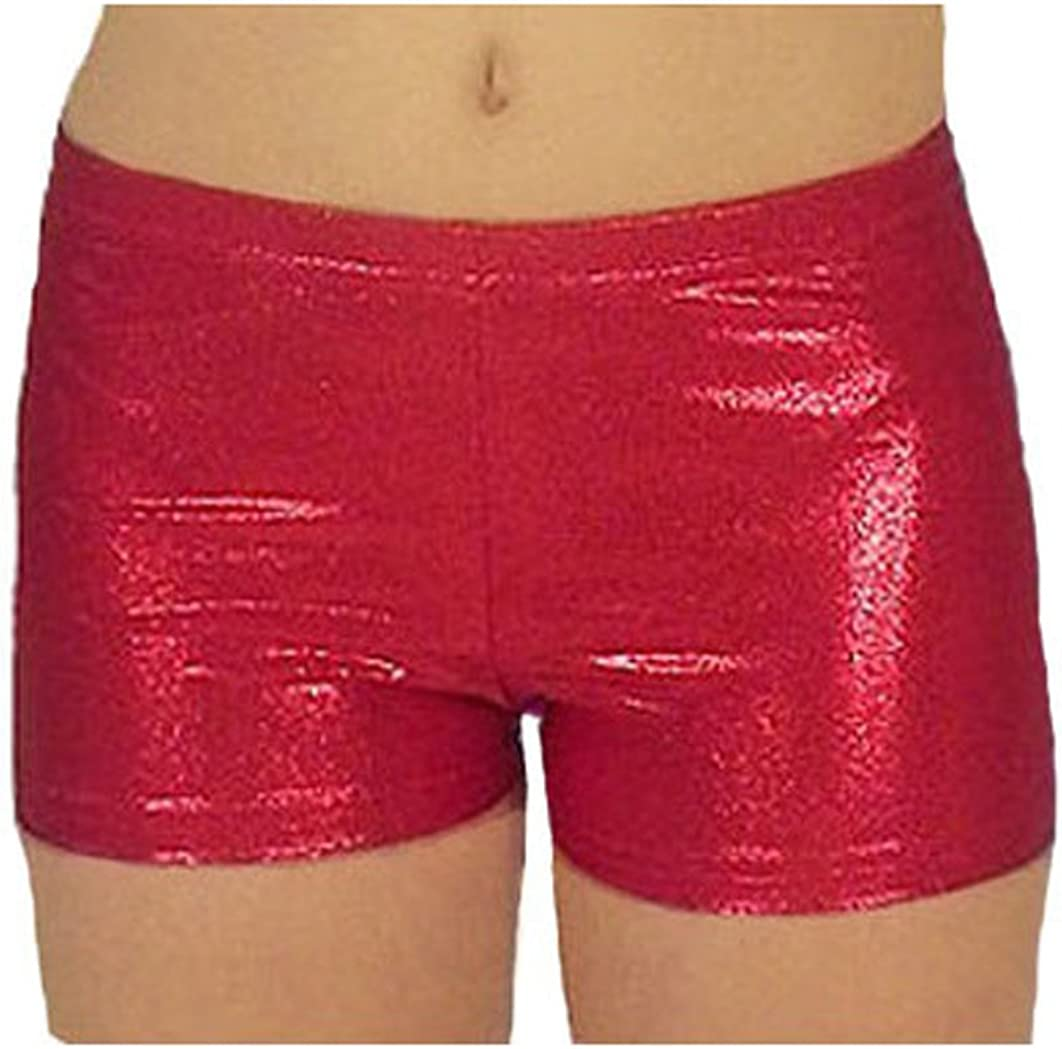 Look-It Activewear Red Jewel Gymnastics and Dance Shorts for Girls and Women