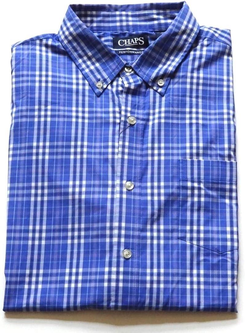 Chaps Mens Classic-Fit Plaid Stretch Button-Down Casual Shirt Blue Plaid