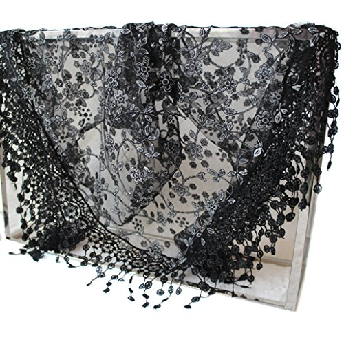 Kofun Pañuelo Triangular, Mujeres De Encaje Escarpado Triángulo Floral Velo Iglesia Mantilla Bufanda Chal Abrigo Borla Negro