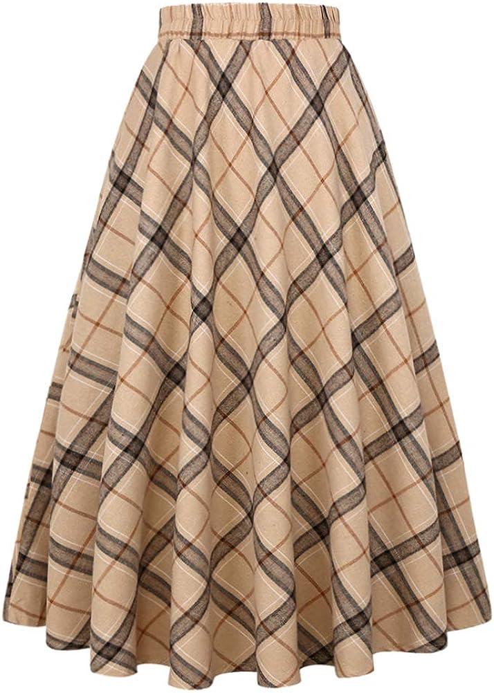 IDEALSANXUN Women's Plaid Skirt Elastic Waist A-line Midi Pleated Skirts