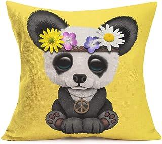 Aremetop Cartoon Panda Throw Pillow Covers Lovely Animal Panda Baby Wearing Flower Wreath..