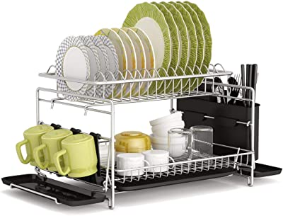 Dish Drying Rack, 1Easylife 2 Tier Large Kitchen Dish Rack with Removable Drainboard, Utensil Holder and Cup Holder, Rustproof Nano Coating Dish Drainer