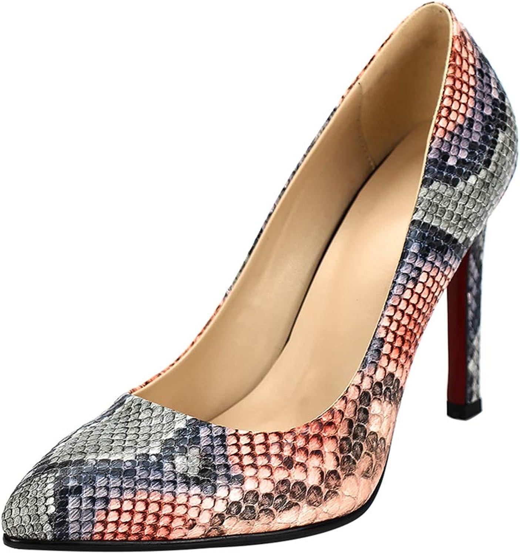 SaraIris Women's Fashion Thin High Pointed Toe Snakeskin Party Dress Office Work Uniform Pumps shoes