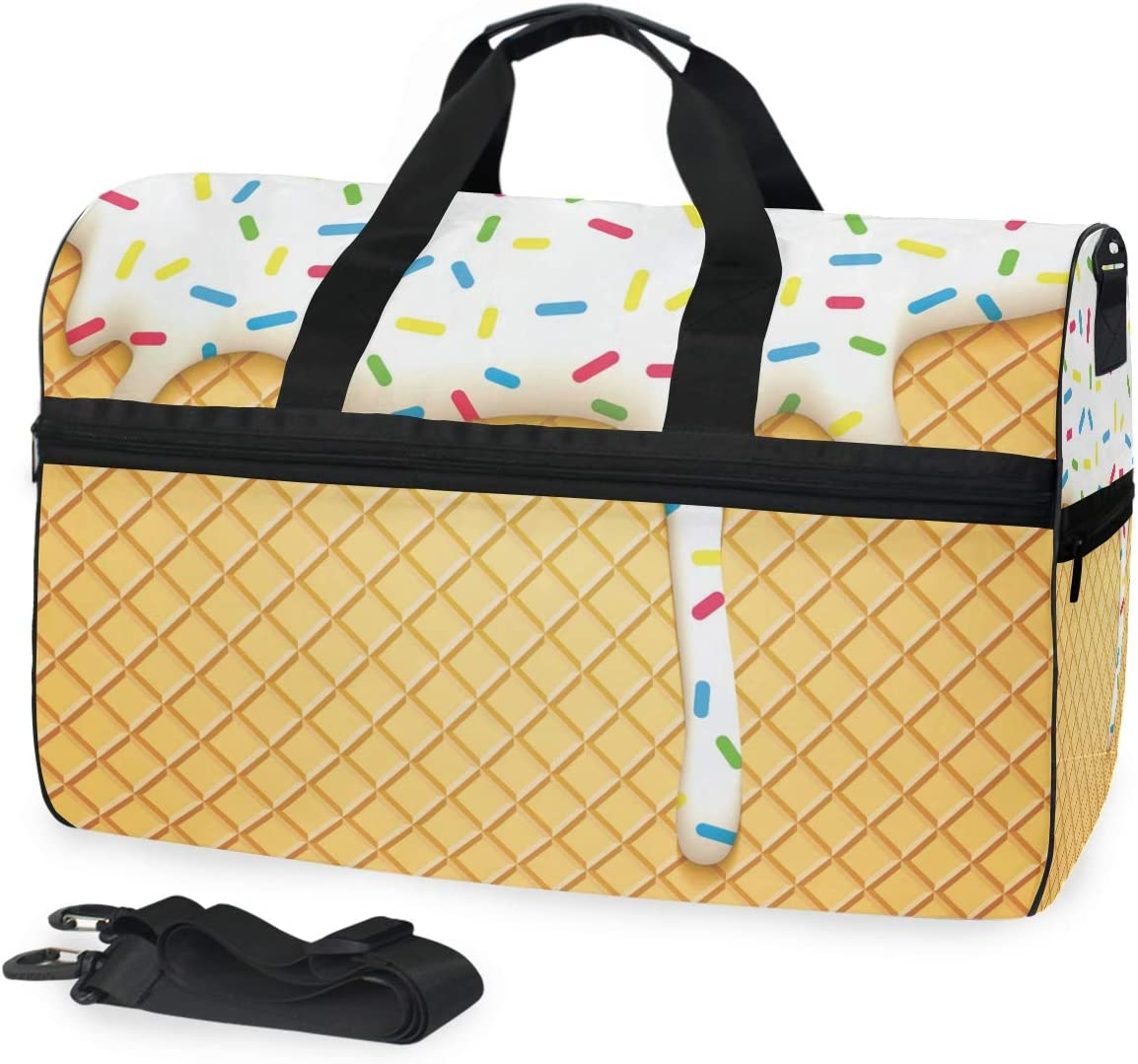 Bolsa de viaje para obleas con glaseado, bolsa de lona para equipaje deportivo, gimnasio para mujeres y hombres