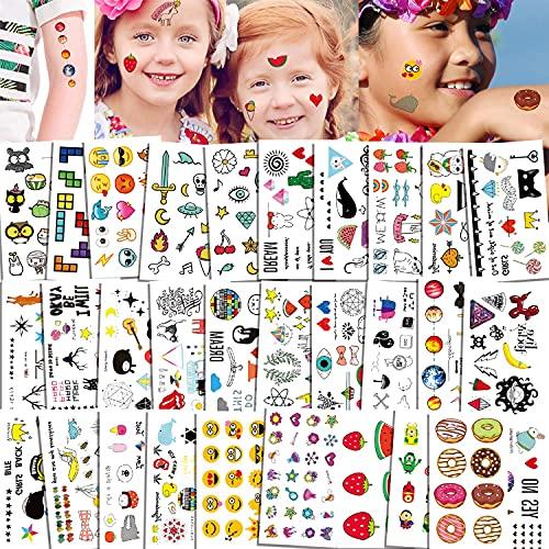 Qpout 400x Tatouages Temporaires pour enfants, dessin animé mignon sucette étanche, couronne, chat, fraise, abeille, beignets tatouages autocollants filles garçons fête enfants cadeaux d'anniversaire