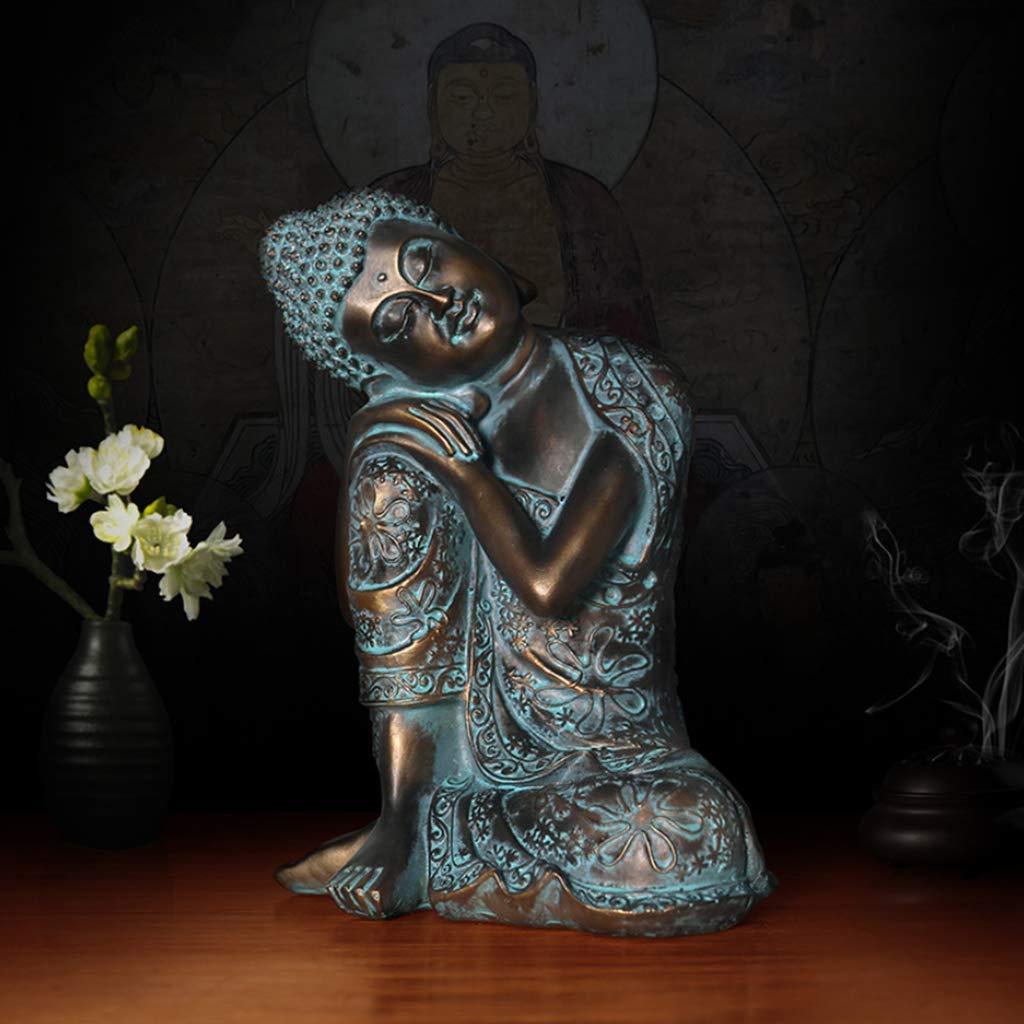 LCR Escultura Gran Estatua de Bronce de Oro Dorado de Alto Grado Estatua de Bronce de Buda Estatua de Buda Shakyamuni Mini Figura sentada Adorno Decorativo Robusto Durable Jardín Estatuas de Libre,68: