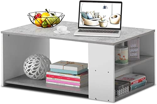 wholesale Giantex Coffee Table with discount Storage Shelves Stable Frame,Smooth Surface & Extra high quality Storage Space,Snack Table Ideal for Office and Living Room Tea Table (Gray) outlet online sale