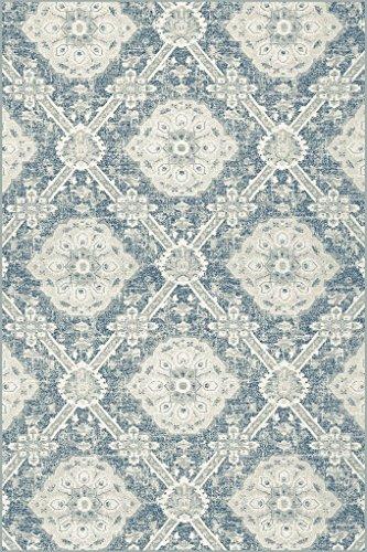 Erdenet Carpet Tappeto Salotto Design Moderno 200x300 cm, Pura Lana, Turchese, Grigio. (200_x_300)