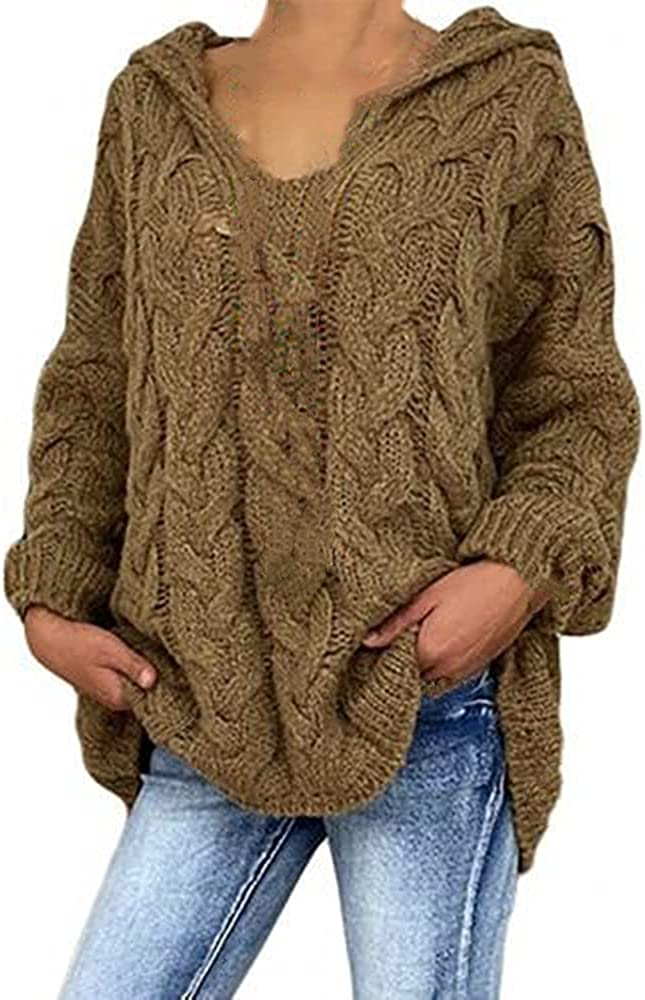 NP Women Autumn Color Long Sleeve Braided Hooded Knitted Sweater Women's Clothing