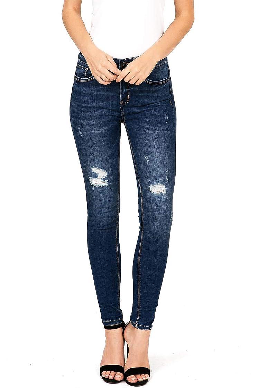Wax Jeans Women's Juniors High Waist Light Distressing Skinny Jeans