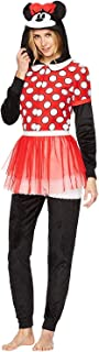 Briefly Stated Minnie Mouse Disney Hooded Costume One Piece Pajamas (Red, Medium)