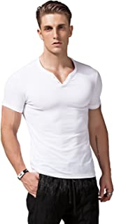 XShing Mens Short Sleeve V Neck Henley Shirts Slim Fit Casual Tee