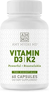 Dr. Amy Myers Vitamin D3 K2 - Vitamin D3 10,000 IU & 45 Mcg of Vitamin K2 MK-7 - Support Immune System Function, Energy Le...