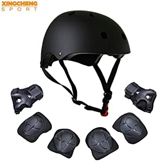 XINGCHENGSPORT Kids Multi-Sport Helmet with Knee&Elbow Pads and Wrists 7 Pieces Kids Boys and Girls Outdoor Sports Safety Protective Gear Set for Skateboard Cycling Skate Scooter