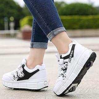 qmj Chaussures à roulettes Fille Et Garçon Chaussures De Skate à roulettes Roue Chaussures De Sport Entraînement Roller Sk...