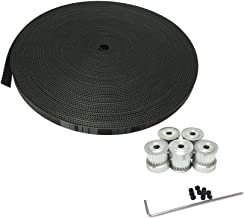 BEMONOC 5Meters 3M Open Ended Neoprene with Fiberglass Core Timing Belt Width 15mm for Stepper Servo Motor & 5Pcs HTD 3M Timing Pulley 25 Arc Teeth 6mm 8mm 12mm Bore for Laser Engraving CNC Machines