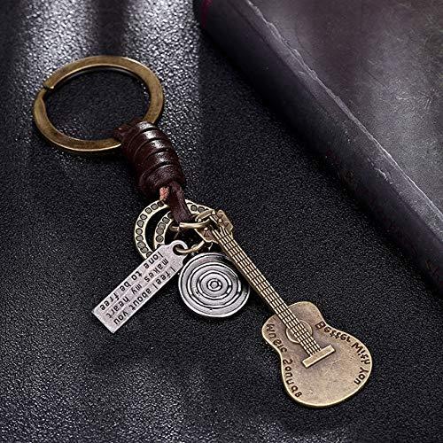 Multiple Guitar Butterfly Pendant Suspension Leder Schlüsselbund Schlüsselanhänger Charms für Schlüssel Autoschlüssel Zubehör Schlüsselbund an Einer Tasche - Gitarre