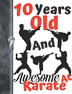 10 Years Old And Awesome At Karate: Black Silhouette Martial Arts Doodling & Drawing Art Book Sketchbook Journal For Boys And Girls