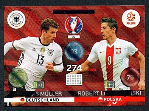 Panini Adrenalyn XL UEFA Euro 2016 Muller and Lewandowski Friend and Foe Card