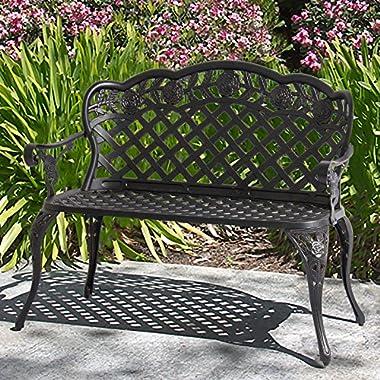 Best Choice Products Patio Garden Bench Cast Aluminum Outdoor Garden Yard Solid Construction New - Bronze