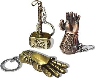 Stormbreaker Avengers Keychain, Thor Hammer Axe Key Ring Thanos Glove Iron Man Keychain 3Pcs