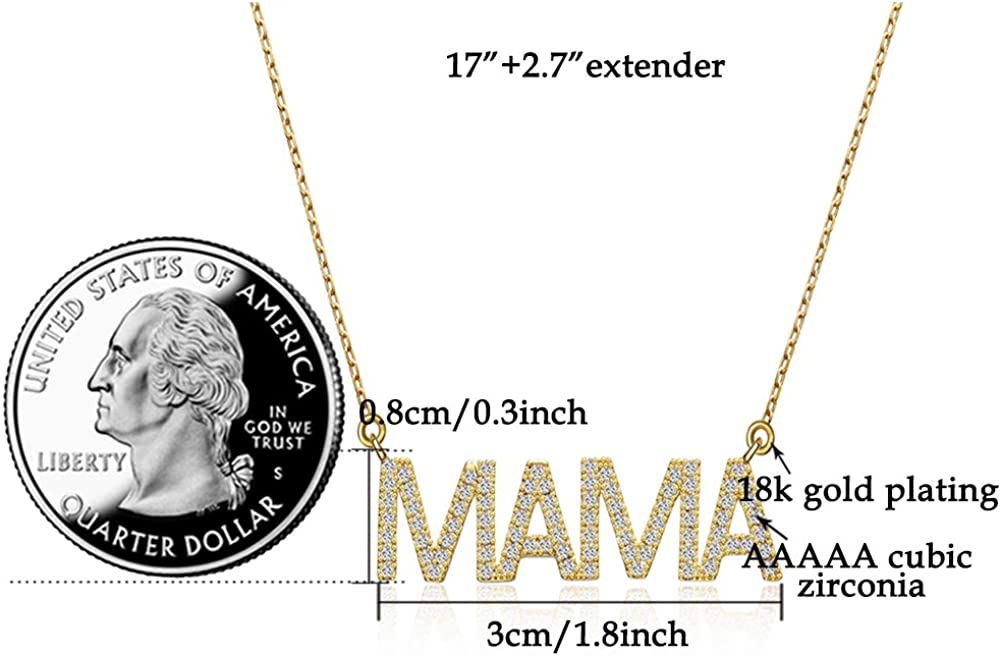 Women Gold Necklace Personalized Cubic Zirconia Word Love//MAMA Pendant Necklace 18K White Gold Plated Dainty Simple Handmade Jewelry Gift for Christmas//Valentines Day//Mothers Day