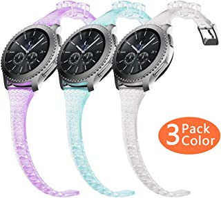 Gear S3 Bands, Women Silicone Watch Bands Slim Girls Rubber Watch Strap Quick Release Narrow Replacement Wristband Compatible Samsung Gear s3 Frontier/s3 Classic Smart Watch (3 Pack)