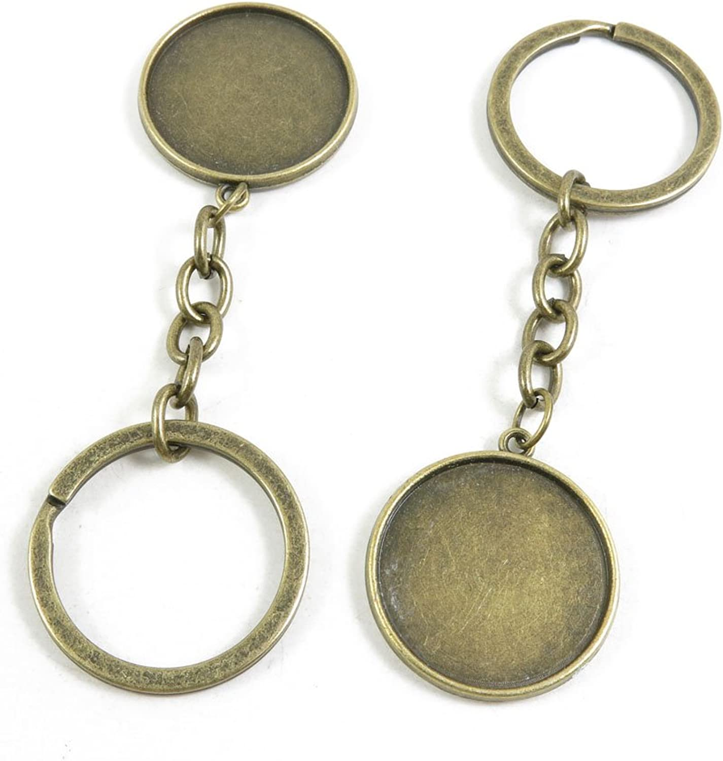 170 Pieces Fashion Jewelry Keyring Keychain Door Car Key Tag Ring Chain Supplier Supply Wholesale Bulk Lots B6NU6 Double Sides Cabochon Frame Setting 25mm