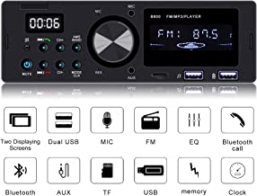 Everimprove Single Din Car Stereo with Bluetooth,Car Stereo Receiver Dual USB SD AUX Input FM Radio Car Audio Radio Receiver with Wireless Remote