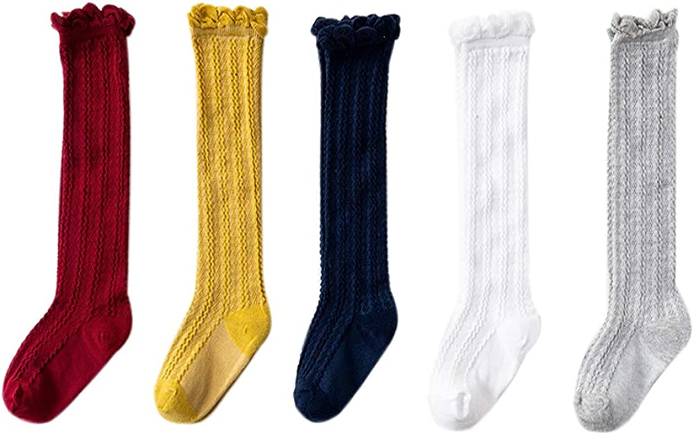Vpogn 5 Pairs Newborn Baby Girl Boy Toddler Cable Knit Knee High Cotton Socks Lace Stockings