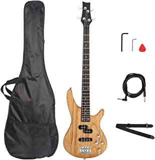 $121 » Electric Bass Set Wooden Body with Strap & Plectrum & Carry Bag Portable Musical Instrument for Guitar Player