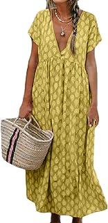 FSSE Women Short-Sleeve Relaxed Casua Dress Printed V-Neck Maxi Long Dress