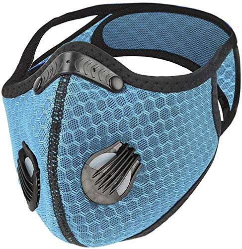 ROXX (Sky Blue Outdoor Cycling Mesh Mask with Changeable Filter, Unisex Anti Pollen Allergens PM2.5 Filters Dust Includes Filter