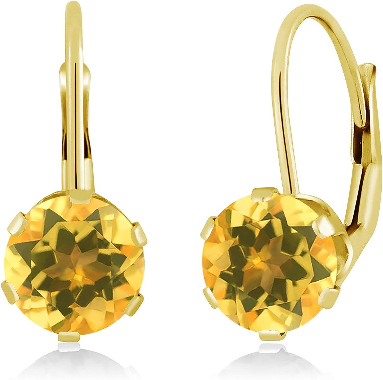 1.40 Ct Round Yellow Citrine 14K Yellow gold Earrings