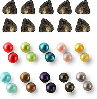 Twin Pearls Oysters Freshwater Cultured, Love Wish Twin Pearls Wholesale, Colored Pearls Loose Beads for Pendant Jewelry Making Birthday Gift, 7-8mm,10 Oysters, AAA Grade