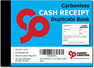 Cherry Carbonless Cash Receipt Book, 2-Part, with Loose-Leaf Writing Shield, A6 (4.1 x 5.8 Inches) 50 Sets, Unnumbered