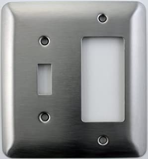Mulberry Princess Style Satin Stainless Steel Two Gang Switch Plate - One Toggle Light Switch Opening One GFI/Rocker Opening
